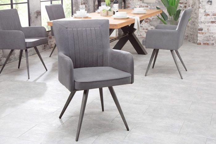 Krzesło tapicerowane ROADSTER szare retro