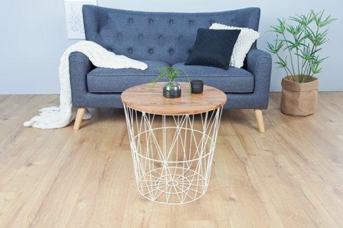 Skandynawski stolik kawowy STORAGE 42cm biały