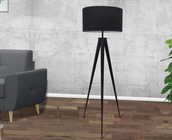 Nowoczesna Lampa Podłogowa Tripod Czarna Fabryka Design