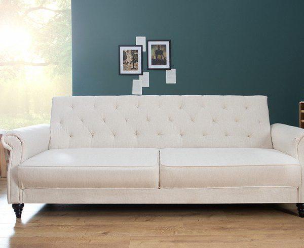 Chwalebne Sofa MAISON BELLE 220cm beżowa z funkcją spania Chesterfield TZ59