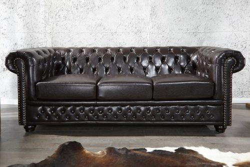 kanapa Chesterfield 3-osobowa w kolorze brązu