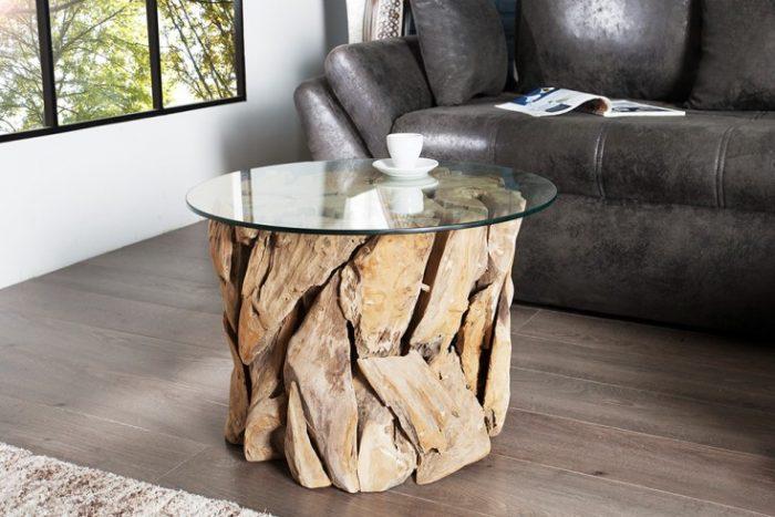 Elegancki Stolik Kawowy Riverside Okrągły Drewno Tekowe
