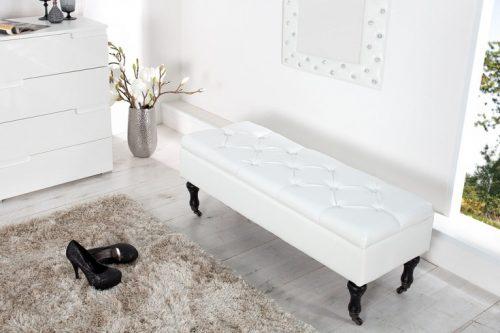Ławka Modern Barock 110 aksamit biała schowek
