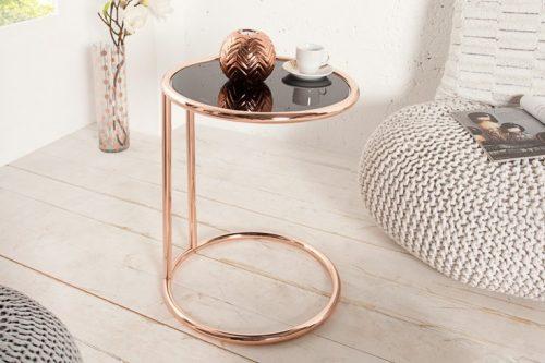 Boczny stolik ART DECO 55cm miedź / czarny