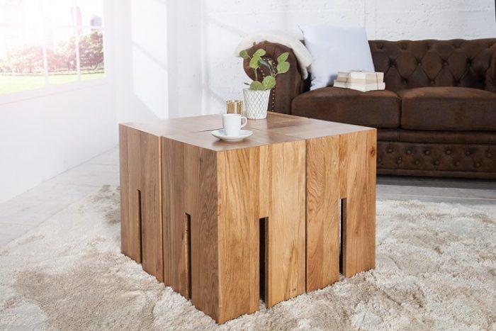 Masywny taboret CASTLE 45 cm Stolik kawowy z naturalnego drewna dębowego
