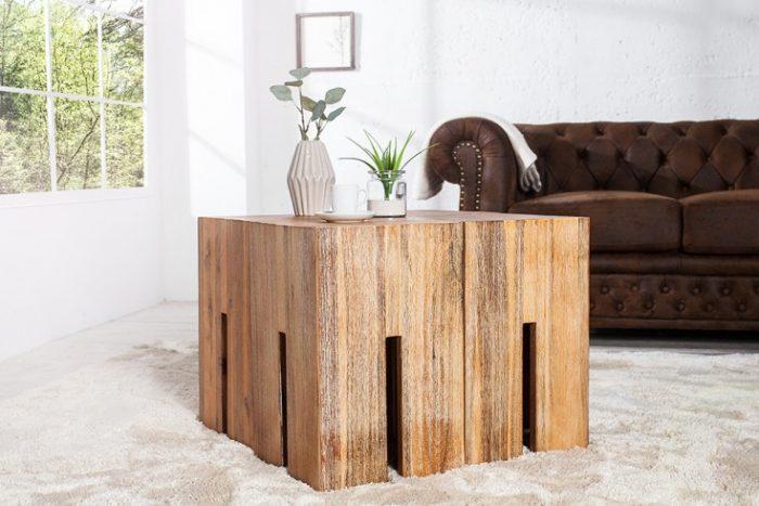 Masywny stołek CASTLE 45cm z akacja