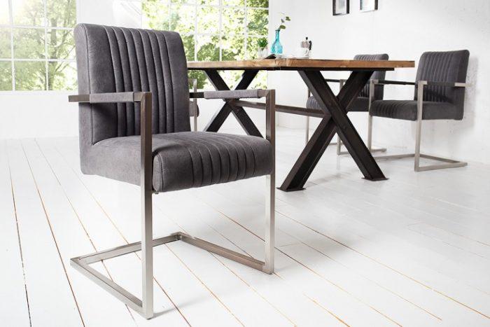 Krzesło BIG ASTON z podłokietnikiem szary