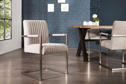 Krzesło BIG ASTON na płozach szare z podłokietnikiem