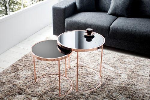 Nowoczesny stolik kawowy ART DECO II zestaw czarny-miedź