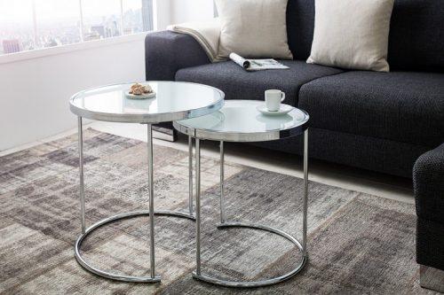 Nowoczesny stolik kawowy ART DECO II zestaw srebrny