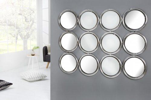 Duże lustro ścienne CIRCLE srebrne 130cm