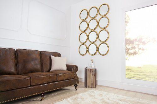 Duże lustro ścienne CIRCLE złote 130cm