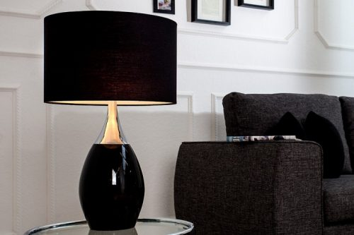 Elegancka lampa  CARLA czarno srebrna 60 cm