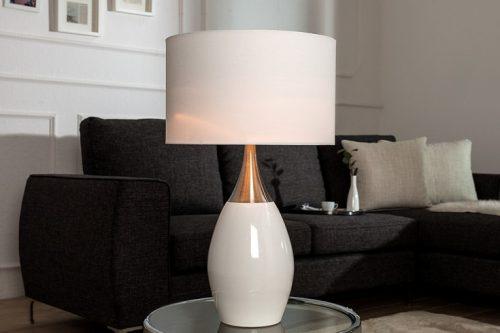 Elegancka lampa CARLA biało srebrna 60 cm