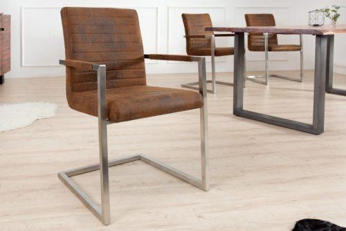 Krzesło na płozach IMPERIAL brązowe z podłokietnikami