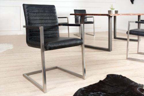 Krzesło na płozach IMPERIAL czarne z podłokietnikami