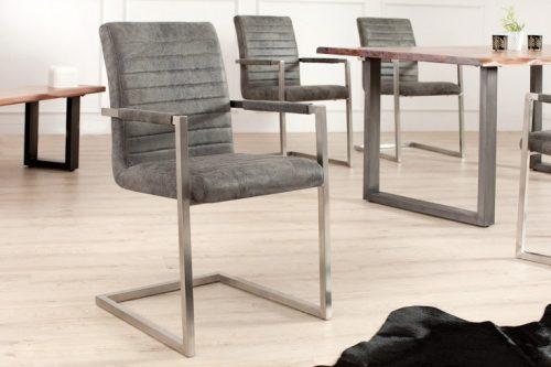 Krzesło na płozach IMPERIAL szare z podłokietnikami