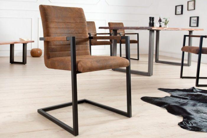 Krzesło  IMPERIAL  brązowe z podłokietnikami