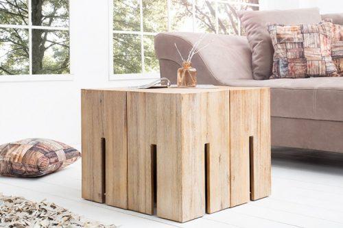 Masywny stołek z drewna akacjowego wapnowany CASTLE 45cm