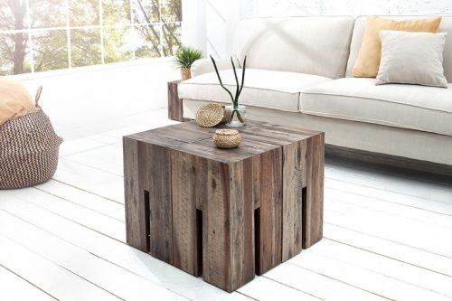 Masywny stołek z drewna drift CASTLE 45cm