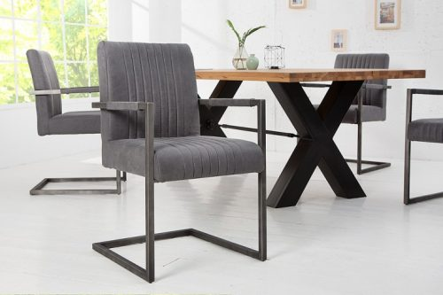 Krzesło BIG ASTON vintage szare z podłokietnikiem