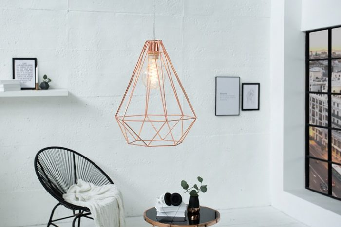 Industrialna lampa wisząca CAGE L miedź