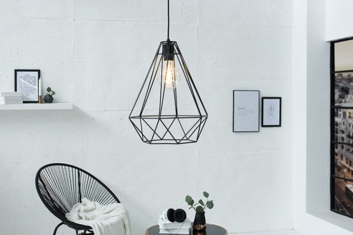 Industrialna lampa wisząca CAGE L czarna