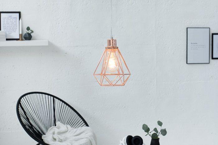 Lampa wisząca CAGE S miedź industialna