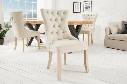 Krzesło  CASTLE beżowe z pikowaniem Chesterfield w stylu rustykalnym