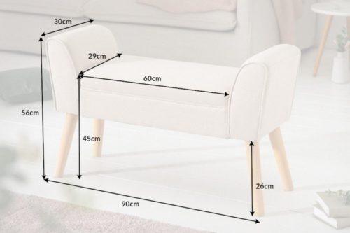 Elegancka ławka SCARLETT beżowa 90cm
