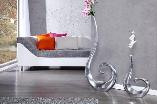 Nowoczesny wazon aluminiowy srebrny  WAVE XXL 105cm