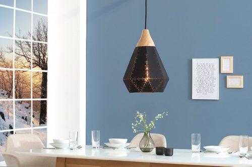 Nowoczesna  lampa wisząca SCANDINAVIA I czarna z litego drewna