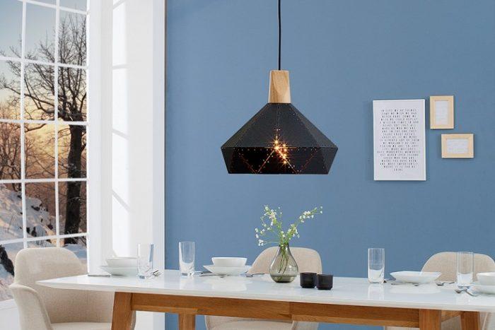 Nowoczesna lampa wisząca SCANDINAVIA II czarna z litego drewna