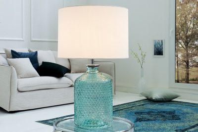 Elegancka lampa stołowa CLASSIC błękit szkło
