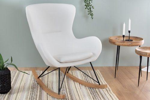 Bujany fotel SCANDINAVIA SWING skandynawski styl białe