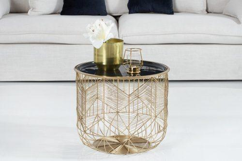 Elegancki stolik kawowy STORAGE 42cm blat złoto/czarny