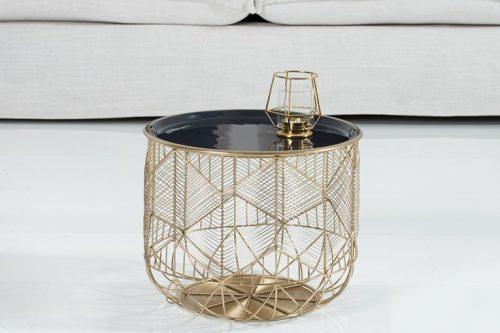 Elegancki stolik kawowy STORAGE 36cm blat szaro/czarny