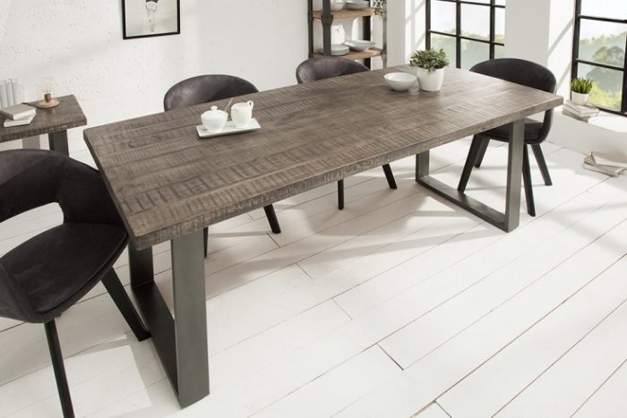 Modernistyczne Industrialny Stół do jadalni IRON CRAFT 200cm szary | Fabryka Design HN63