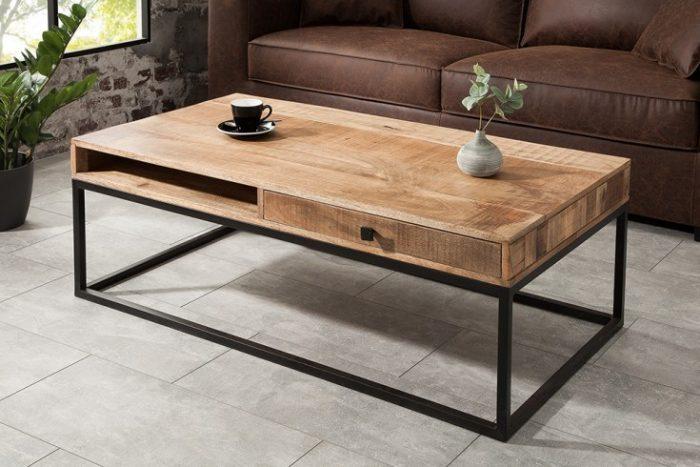 Bardzo dobra Masywny stolik kawowy IRON CRAFT 115cm | Fabryka Design JB27