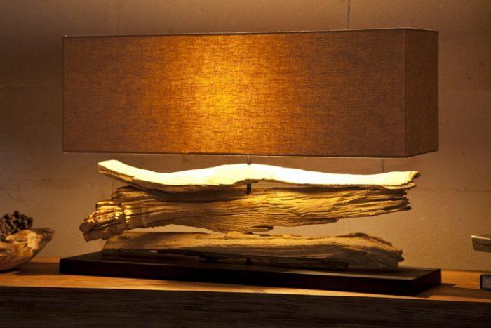 Lampa stołowa RIVERINE beżowy klosz ręcznie robiona