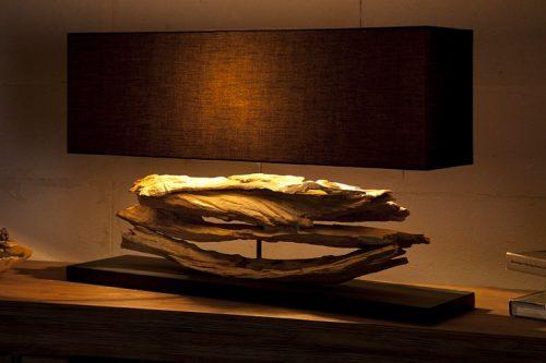 Lampa stołowa RIVERINE czarny klosz ręcznie robiona