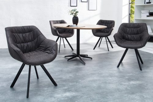 Krzesło COMFORT mikrofibra ciemnoszare podłokietniki retro