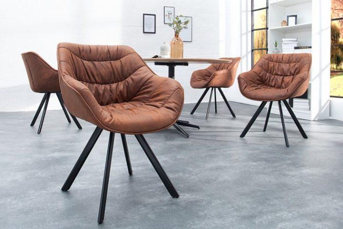 Krzesło COMFORT mikrofibra brązowe podłokietniki retro