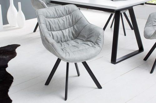 Krzesło COMFORT mikrofibra szare podłokietniki retro