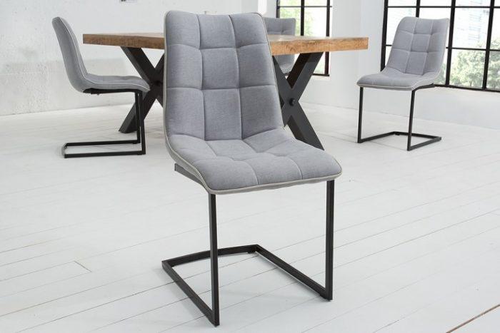 Nowoczesne Krzesło do biura MIAMI jasnoszare płozy