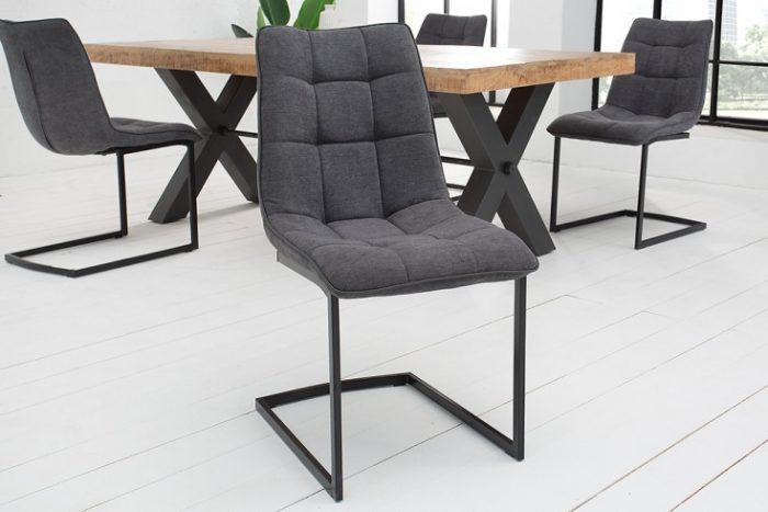 Nowoczesne Krzesło do biura  MIAMI ciemnoszare płozy