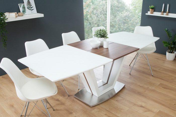 Stół Rozkładany Do Jadalni Empire 160 220cm Biały Matowy Orzech