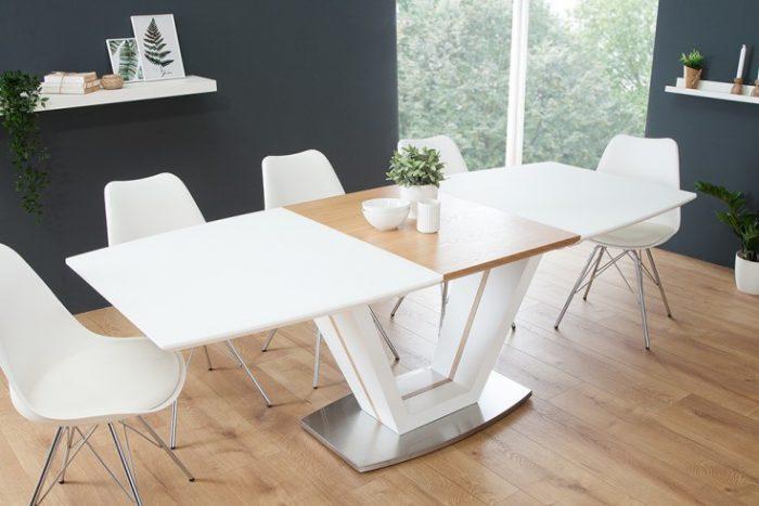 Stół Rozkładany Do Jadalni Empire 160 220 Cm Biały Matowy Dąb