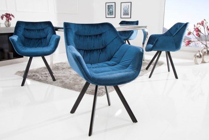 Krzesło COMFORT aksamit niebieskie podłokietniki retro