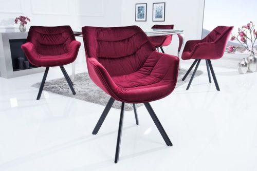 Krzesło COMFORT aksamit bordowe  podłokietniki retro